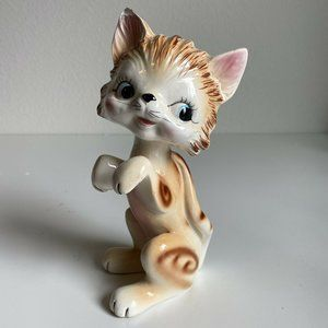 Vintage 50s Ceramic Cat Figure Statue Orange Tabby